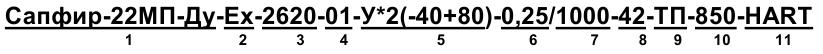 Пример записи при заказе буйкового уровнемера Сапфир-22МП-ДУ